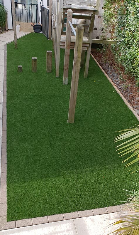 Artificial turf installed playground