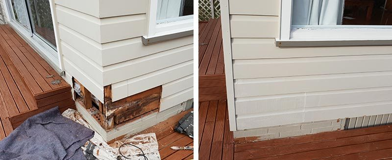 Before and after cedar cladding repairs
