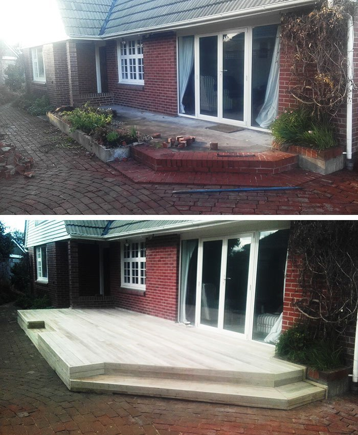 New pine deck – before and after
