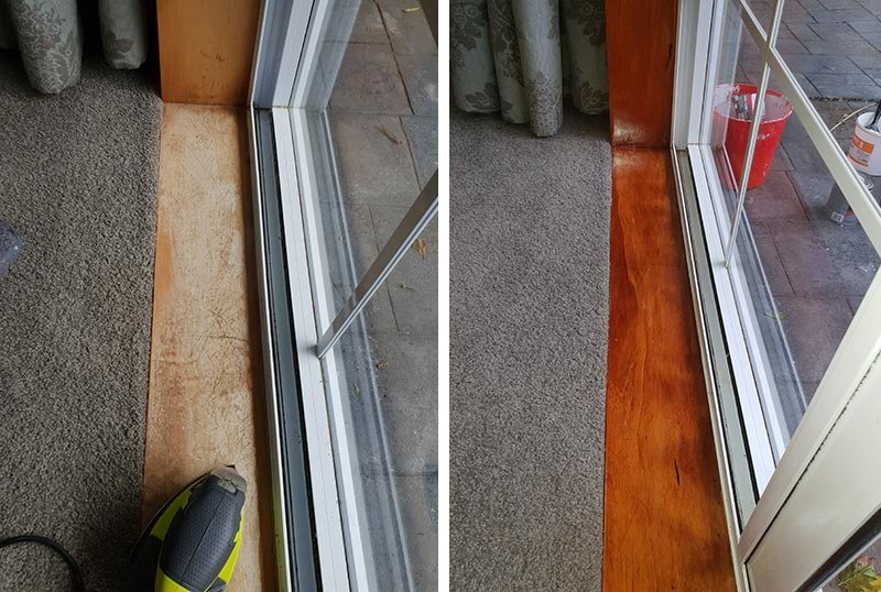 Before and after window sills sanded and varnished looking good