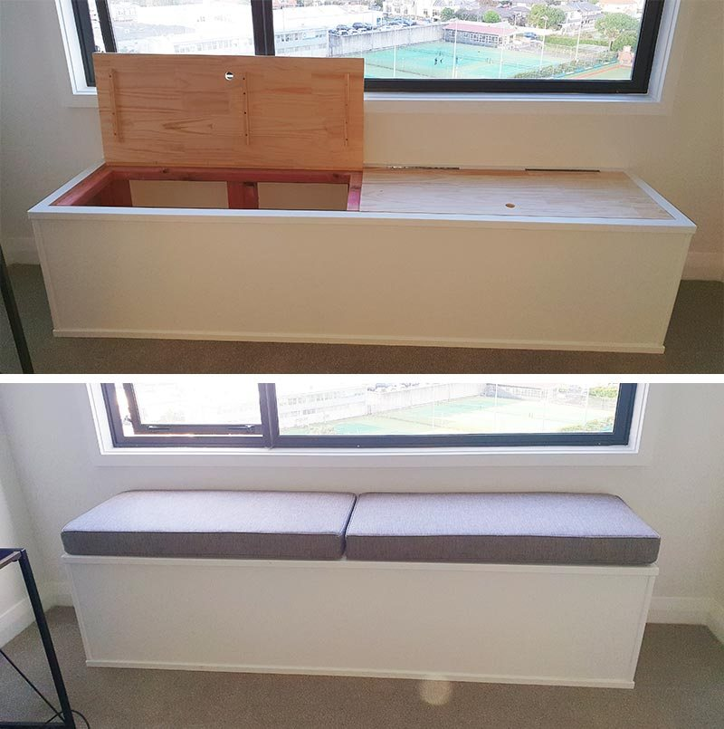 Custom window seat constructed with storage and upholstery