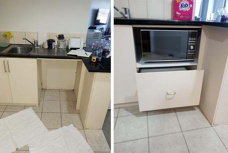Kitchen renovation – dishwasher removed, shelf for microwave and new drawer installed.
