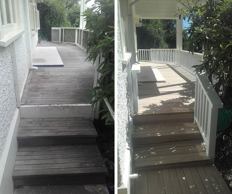 New pine decking with timber balustrade – before and after