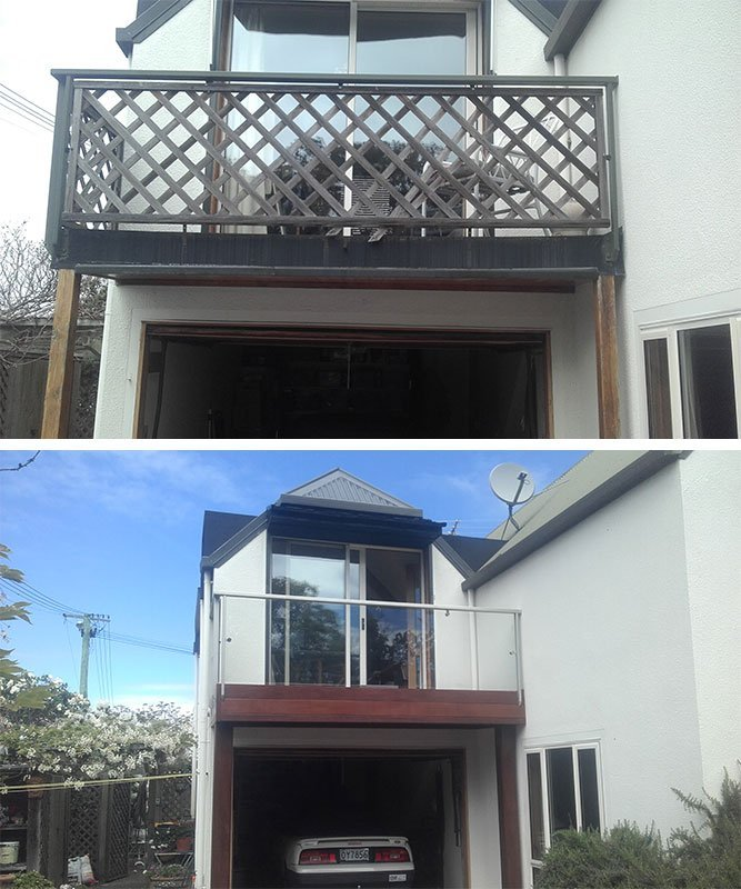 New Kwila balcony with glass balustrade