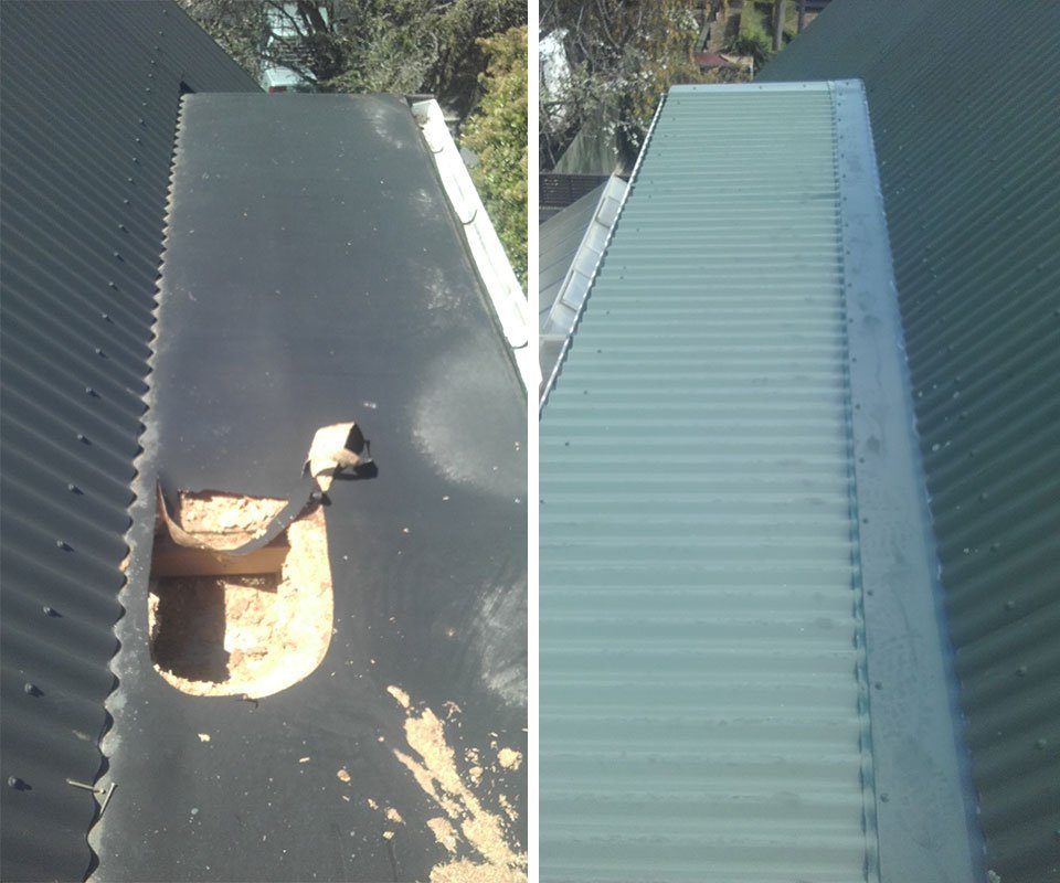 Before and after roof repairs