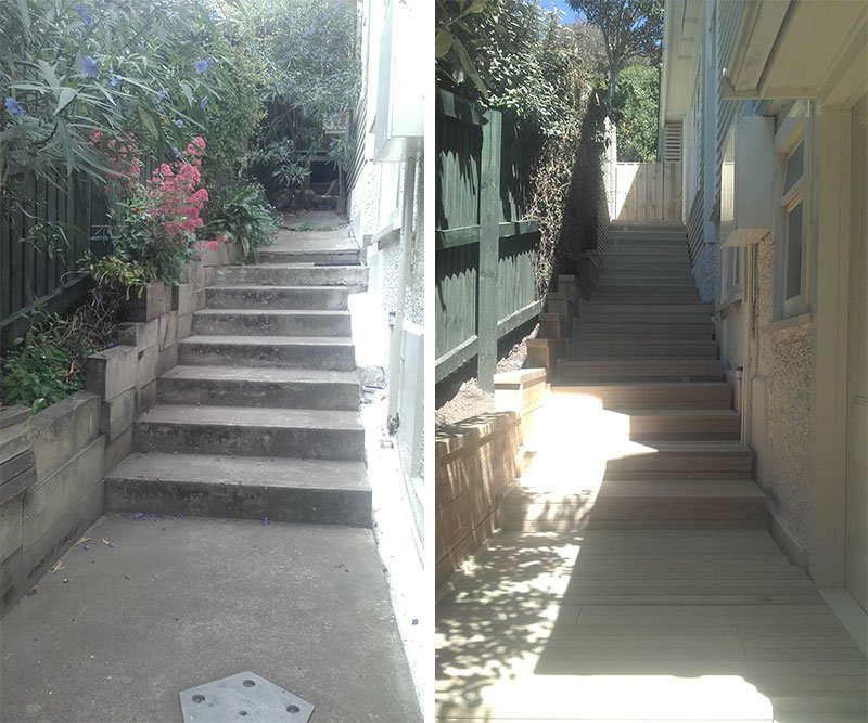 Before and after timber steps