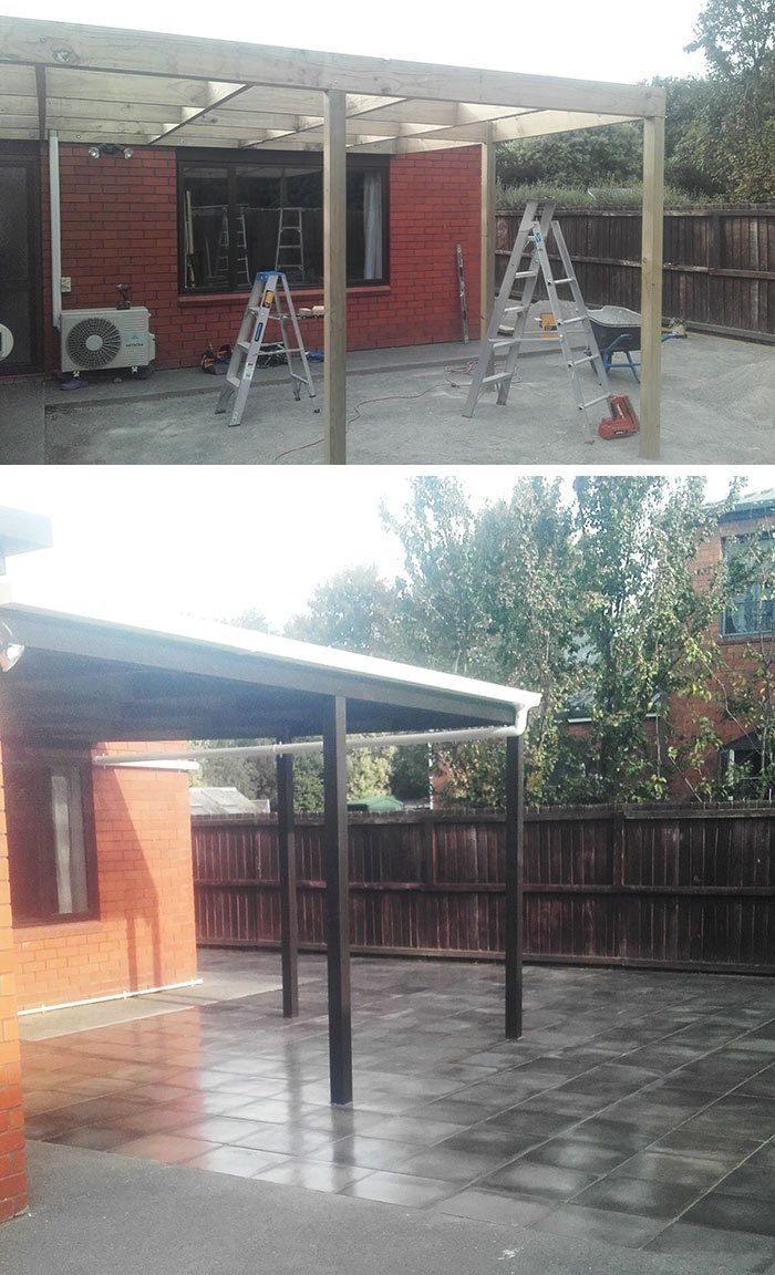 Pergola and paving – during build and after