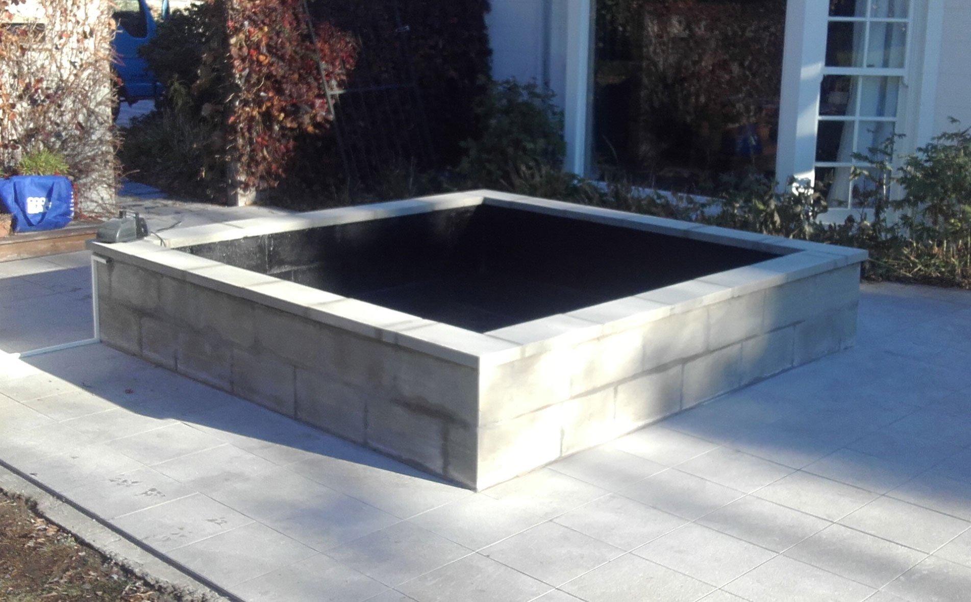 Concrete block fish pond