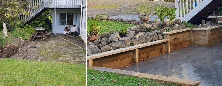 Before and after paving and retaining wall